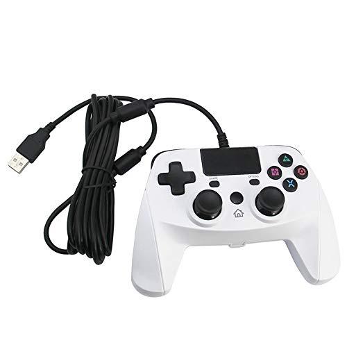 INSN Wired Gaming-Controller USB-Gamepad Mit Dual-Vibration, Kompatibel Mit PC / PS3 / PS4,Weiß