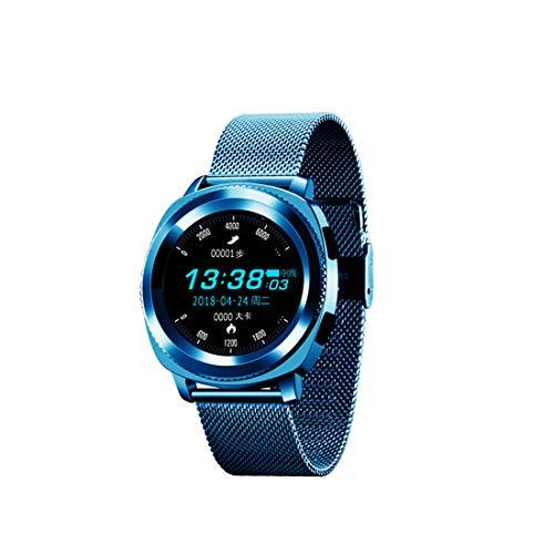 MMGN Pantalla táctil a Color Compatibles con Las Bandas de Fitbit Versa, Pulsera de Metal de Acero Inoxidable Banda de la Correa Fitbit Versa Sports Reloj Inteligente Fitness,Blue