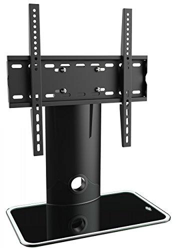 RICOO FS303-B, TV Ständer, Schwenkbar, 30-55 Zoll (ca. 76-140cm), Fernsehständer, Universal für VESA 200x200-400x400, Standfuss Schwarz, Glas