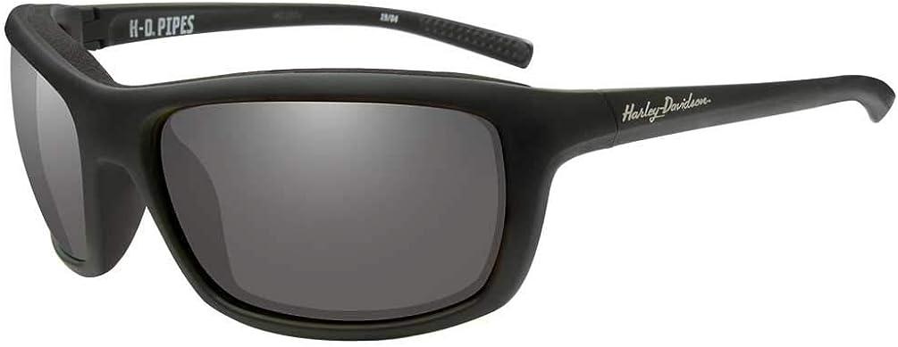 Harley-Davidson Men's 日本メーカー新品 Pipes Sunglasses Lenses 高級な Silver Flash Blac
