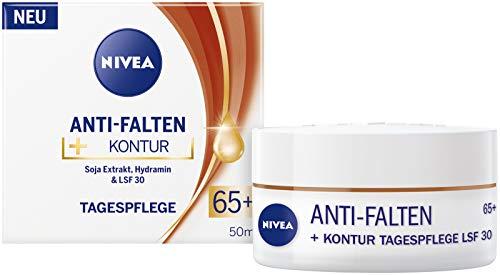 NIVEA Anti-Falten + Kontur Tagespflege LSF 30 65+ (50 ml), Gesichtscreme mit Soja Extrakt und Hydramin, Tagescreme mildert Linien und Falten sichtbar
