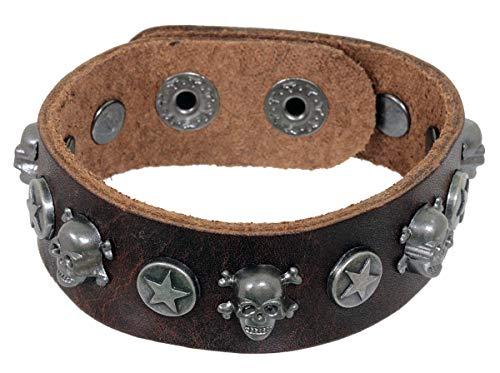 Pain-is-Art Armband aus braunem Leder mit Totenköpfen und Druckknopfverschluß Lederarmband
