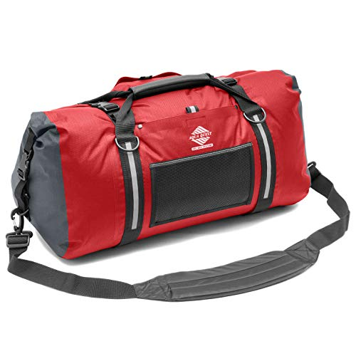Aqua Quest White Water Duffel - 100% Waterproof 50 L Bag - Lightweight, Durable, External Pockets - Red