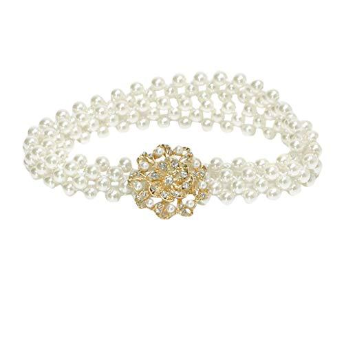 Transwen - Cinturón de novia con perlas y flores, para vestido de dama de honor, para boda, elástico, cintura elástica c 6 1/2 HS