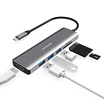 LETSCOM USB C Hub, 6 in 1 USB C Adapter with 4K HDMI, 3 USB 3.0 Ports, SD/TF Card Reader Compatible for USB C Devices