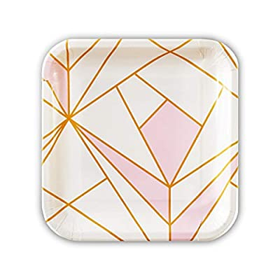 SOLAS Pink Paper Plates | Beautifully Designed Stylish Fully Compostable & Biodegradable Party Plates | Pack Of 20 Eco Party Plates | 9 Inch Pink Party Plates