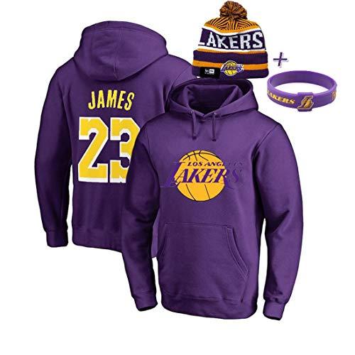 YUUY Lebron James # 23 Los Ángeles Lakers Camisetas de Baloncesto para Hombre, Sudaderas con Capucha de Entrenamiento para Aficionados Masculinos con Gorro y Pulsera de Punto (Color : B, Size : 2XL)