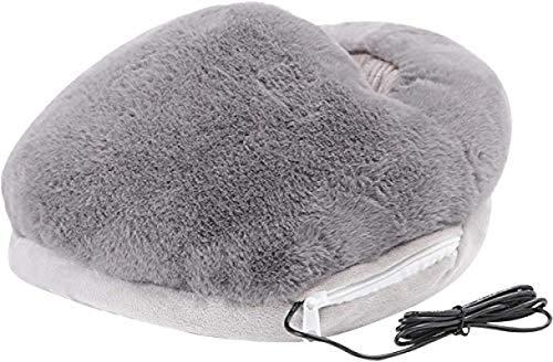 YANGYOU USB Foot Warmer Cushion Portable Heating Foot Warmer, Foot Heated Warmer Slippers Portable Feet Warmers with Electric Heating Pad Gray