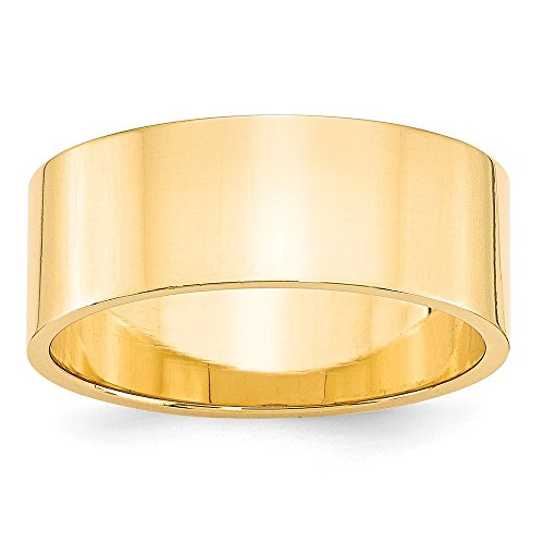 14k Yellow Gold 8mm Flat Wedding Ring Band Size 9 Man Classic Fine Jewellery For Dad Mens Gifts For Him