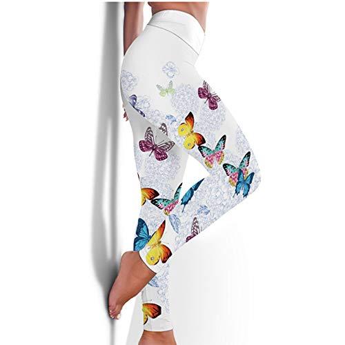 Damen Yoga Hosen Leggings,Farbiger Schmetterlingsdruck Hoch Taillierte Bauchkontrolle Push Up Tight Athletic Pants Weiche Bequeme Elastische Schlanke Hose Für Sport Fitness Workout Running Gym Sport