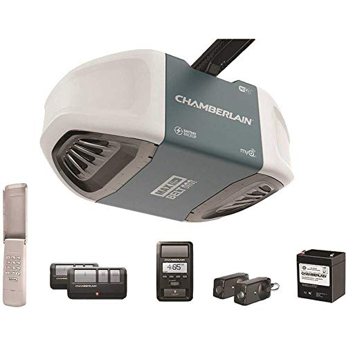 Chamberlain Group B970T Chamberlain B970 Smartphone-Controlled Ultra-Quiet & Strong Belt Drive Garage Door Opener with Battery Backup and MAX Lifting Power, Blue