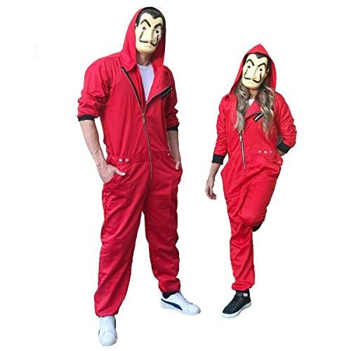 La Casa De Papel Kostüm Roter Overall Staffel 3 mit Dali Keychain, Größe L