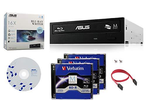 Asus 16X BW-16D1HT Internal Blu-ray Burner Drive Bundle with 3