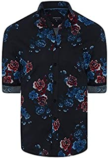 Tarocash Men's Mylo Slim Stretch Print Shirt Slim Fit Long Sleeve Sizes XS-5XL for Going Out Smart Occasionwear