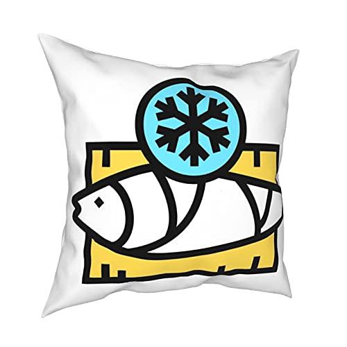 Throw Pillowcase Kissenbezüge 45x45CM Frozen Tuna Color Icon Vector. Gefrorener Thunfisch Zeichen. Isolierte Symboldekoration für Hauptdekor-Büro-Sofa-Feiertags-Bar-Kaffee-Hochzeitsauto