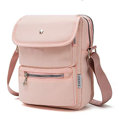 Crossbody Bag for Women, JOSEKO Multi-Pocketed Nylon Shoulder Bag Purse Travel Passport Bag Messenger Bag Pink Size: 7.87''(L) x 2.76''(W) x 10.24''(H)