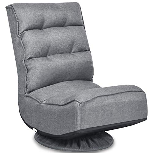 COSTWAY Folding Sofa Chair, 360 Degree Swivel 5-Position Adjustable Lazy High-Back Seater with Removable Base Cover, Home Office Living Room Study Furniture Reclining Lounge Chairs (Grey)