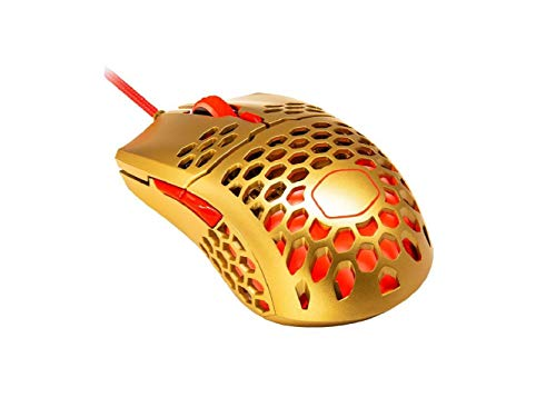 Cooler Master MM711 RGB Gaming Mouse (2020 Gold Red Limited Edition) - 60g Lightweight, Honeycomb Shell, Ultraweave Cable, Pixart 3389 16000 DPI Optical Sensor, and RGB Accents