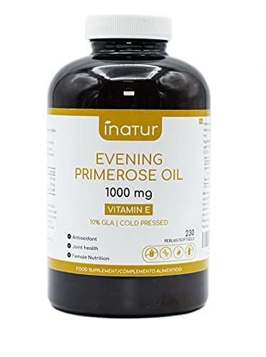 Aceite de Onagra 1.000 mg – 230 Perlas | Inatur | Vitamina E | 10% GLA | Suministro 7 meses | Salud hormonal de las mujeres | Salud de piel y huesos | 100% Natural