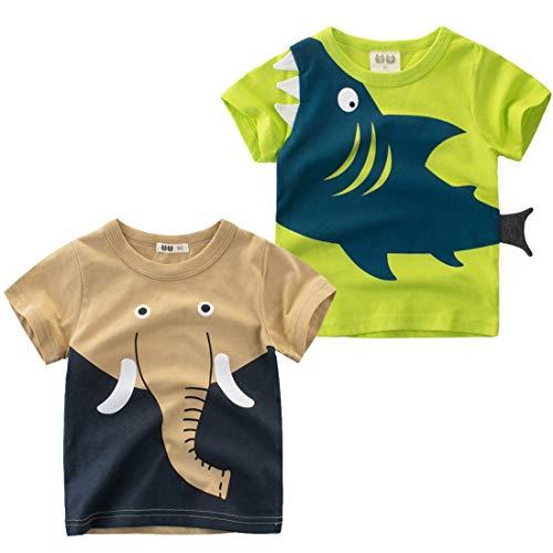 Biofieay - Camiseta de manga corta para niño (algodón, 2 unidades, 1 a 8 años) Verde Juego de dibujos animados 3-4 Años