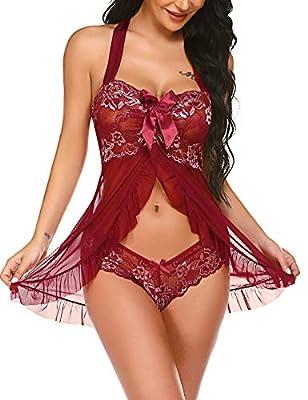 Avidlove Women Lingerie Sheer Lace Chemise Halter Babydoll Sexy Sleepwear Night Dress Dark Red
