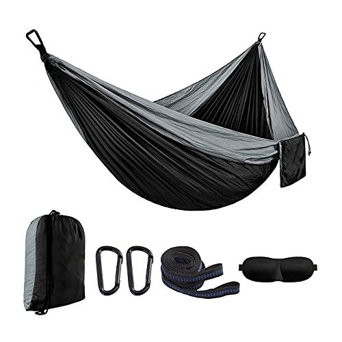 Amaca da campeggio portatile singola – Paracadute in nylon leggero con cinghie per albero, per esterni, per viaggi, spiaggia, escursionismo, parco, cortile, patio, 2 moschettoni