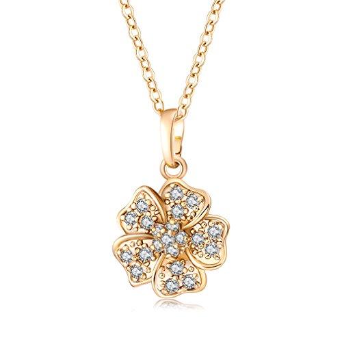 Yazilind Jewelry Schmuck Gold vergoldet Kristall Elegante Damen Halskette mit Anhänger Blumen Sakura Kirschblüte 45cm