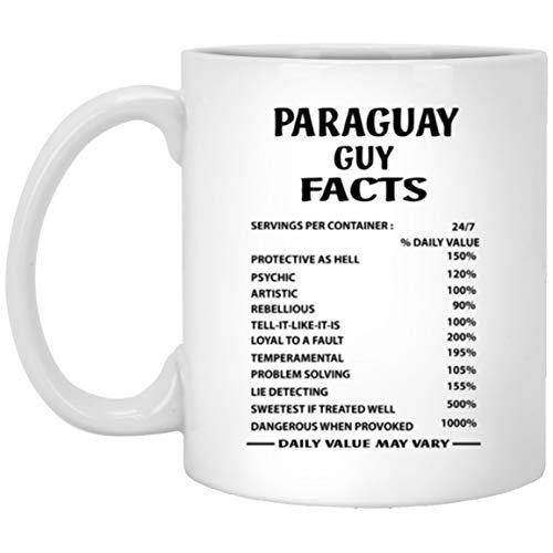 N\A Taza de café Paraguay Guy Facts - Regalo de cumpleaños papá, Esposo - Regalos de cumpleaños para Hombres - Taza de té de cumpleaños de cerámica Blanca