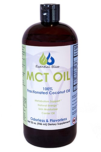 Essential Bliss MCT Coconut Oil 32 Oz - 100% Pure Fractionated Coconut Oil for Essential Oils, Great with Coffee, Smoothies
