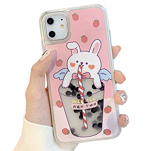 SGVAHY Quicksand Case for iPhone 11, Creative Fun Liquid Pearl Milk Tea Design Cute Bear PC Hard Back Cover Soft Silicone Bumper Protective Case (Bunny, iPhone 11)