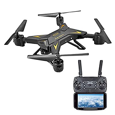 squarex Foldable WIFI FPV RC Quadcopter Drone with 1080P 5.0MP Camera Selfie Drone, The latest 6-axis flight control system, For Mountaineering Outings or family parties (Black)
