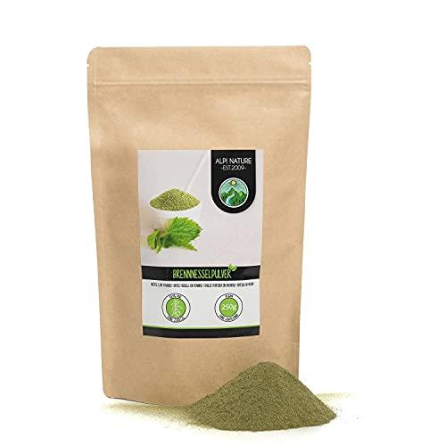 Ortie en poudre (250g), ortie moulue, Poudre d'ortie, 100% naturelle, délicatement déshydratée et broyée, bien entendu sans additifs, végétalienne, feuilles d'ortie