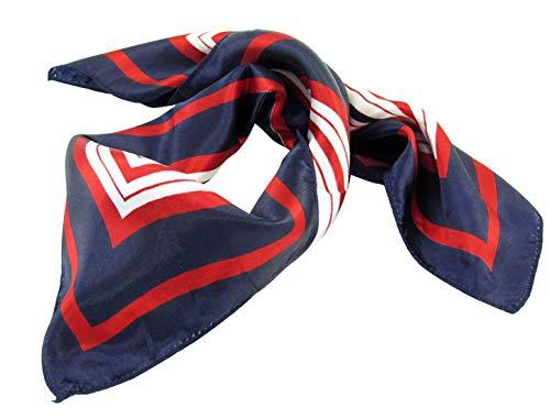 Allegra K Lady Dark Blue Red White Stripe Print Kerchief Square Neck Scarf Wrap