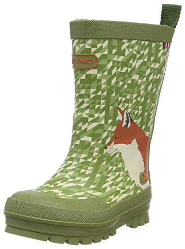 viking Unisex-Kinder Big Fox Gummistiefel, Grün (Green/Multi 450), 26 EU
