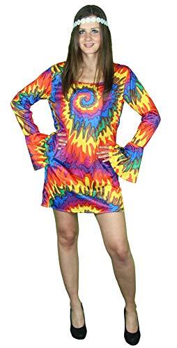 60er 70er Jahre Hippie Kleid für Damen - Größe S-XXL - Batik Flower Power Karneval Fasching Party, Größe:XL