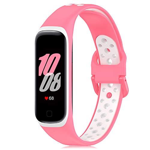 Onedream Correa Compatible para Samsung Galaxy Fit 2 R220 Banda, Silicona Pulsera Reemplazo Deportivo Accesorios para Mujer Hombre Rosa-Blanco