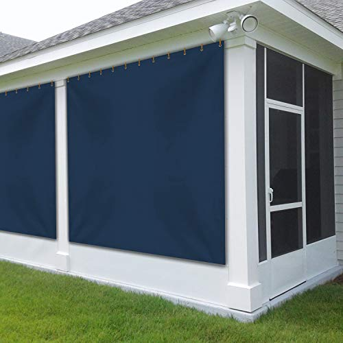 Outdoor Vinyl Curtain for Patio Furniture 12 Oz - Weather Resistant Patio Blackout Drapes for Dining Room Window - with Rustproof Grommets - for Pergola, Porch, Gazebos (4' x 9', Blue)