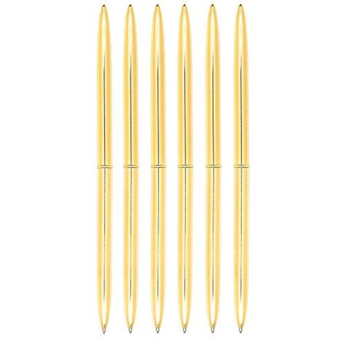 NUOLUX Dual Heads Rotation Metall Kugelschreiber Blue Ink Pen, 6PCS (Golden)
