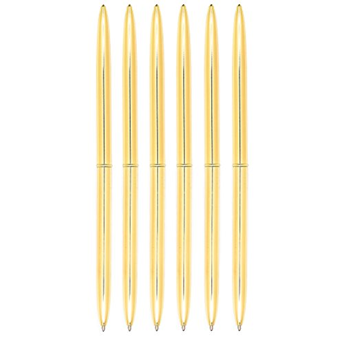 NUOLUX Dual Heads Rotation Metall Kugelschreiber Blue Ink Pen, 6PCS (Golden)