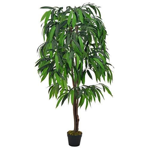vidaXL Planta Artificial Decoración Árbol Mango Maceta Flores Decorativas Realistas Exterior Interior Oficina Hojas Plástico 140 cm Alta Verde