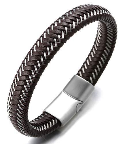 Halukakah ● Jazz ● Herren-Armband Handgefertigt | Echtleder Schwarz & Braun | Magnetverschluss Edelstahl | mit Stahldraht | KOSTENLOS Geschenkbox | Größe Einstellbar (Mondlicht Silber 21.5cm)