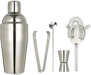 Scra AC Cocktail Shaker Set, Set 5PC Bartending-tool - met Barmender-benodigdheden (zilver, 18oz / 550ml)