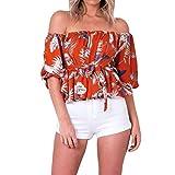 Topkal - Camiseta de manga larga para mujer con impresión en los hombros naranja XXL