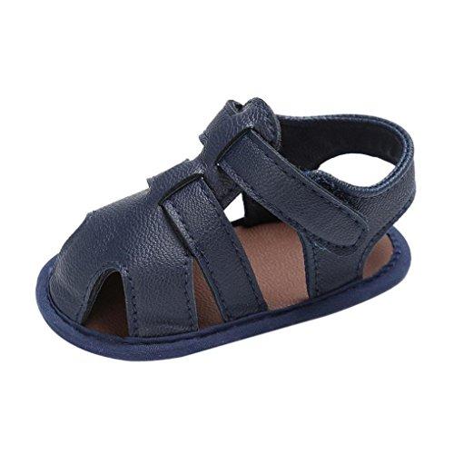 FNKDOR Baby Jungen Sandale Schuhe rutschfest Lauflernschuhe (12-18 Monate, Marineblau)