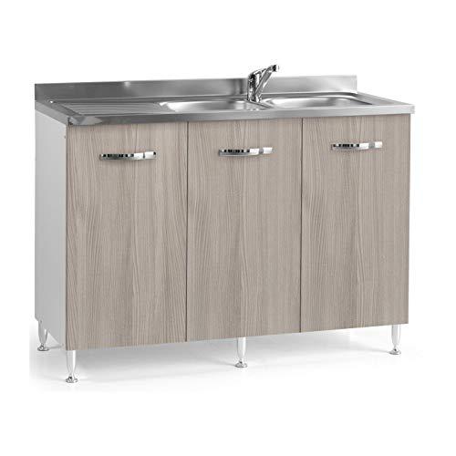 Sottolavello Da Cucina Reversibile 3 Ante Olmo Cm 120x50xh 85