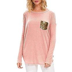Pink Sequin Pocket Long Sleeve Knit Shirt Tunic Top