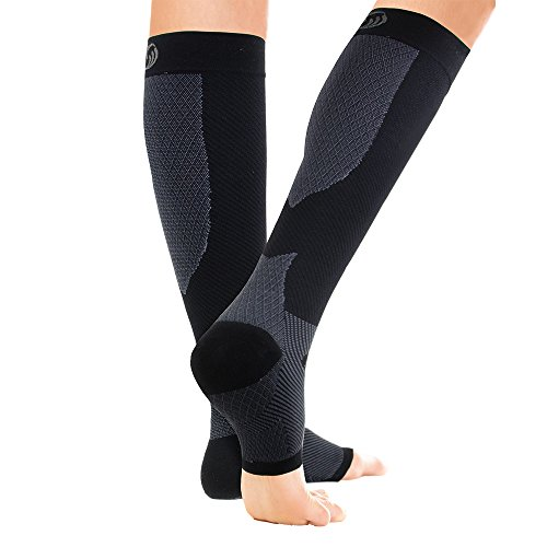 OrthoSleeve FS6+ Compression Foot & Leg Sleeve (1 Pair) for Plantar Fasciitis, Heel Pain, Achilles Tendonitis, Shin Splints, Venous Insufficiency and Leg Cramps (Large, Black)