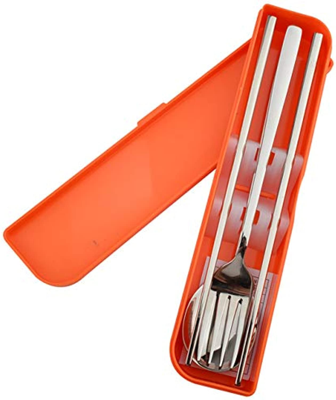 3Pcs Set Stainless Steel Dinnerware Set Fork Teaspoons Fork with Plastic Box Polishing Cutlery Tableware Kitchen Silverware Tool   orange