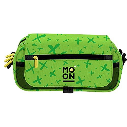 Grafoplás 37546420. Estuche Escolar Tres Compartimentos con Solapa, Verde, Colección Moon, Tamaño: 23x10x10cm