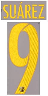 SUAREZ #9 FC Barcelona Home 2015-2016-2017 Soccer Jersey Shirt Print Transfer Football Name Number Set Youth / Junior Size